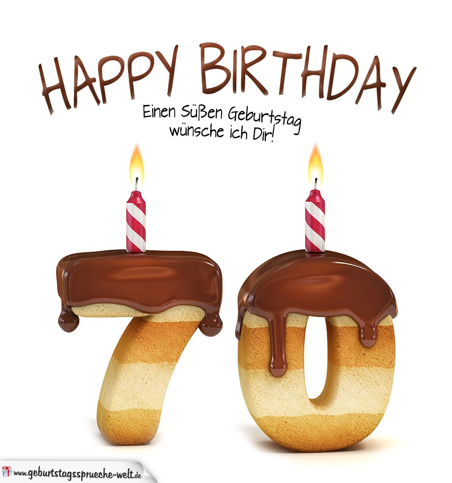 Happy Bday Wallpaper With Quotes Happy Birthday In Keksschrift Zum 70 Geburtstag