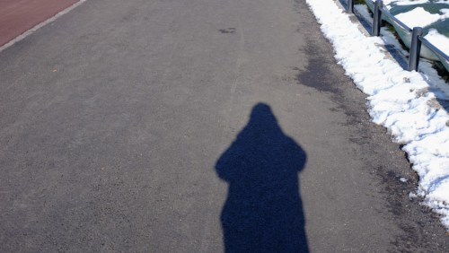 Chasing my Noon shadow, low sun.