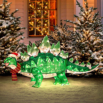 Animated outdoor dinosaur christmas decoration geek decor for Animated tinsel dinosaur christmas decoration