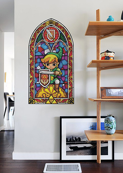 Zelda Wall Decoration : Legend of zelda stained glass wall decal geek decor