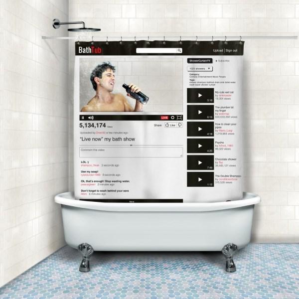 Online Video Shower Curtain - Geek Decor