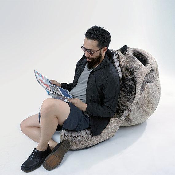 Skull Chair In Use - Geek Decor