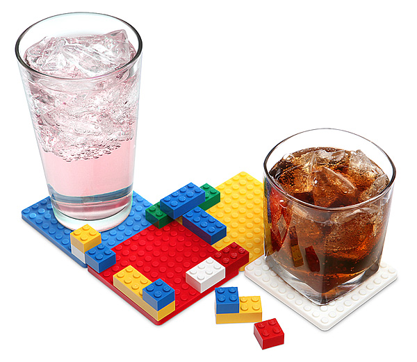 Building Brick Coaster Set With Drinks - Geek Decor
