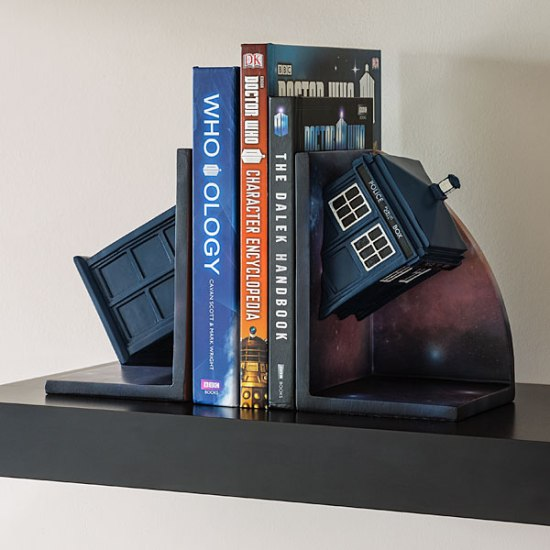 Doctor Who Bookends With Books - Geek Decor