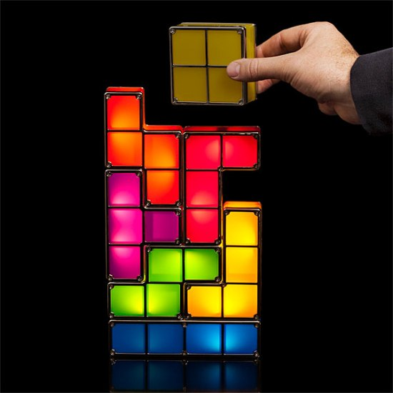 tetris stackable led desk lamp for the tetris fans geek decor. Black Bedroom Furniture Sets. Home Design Ideas