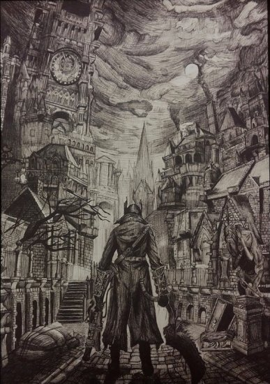 Bloodborne Ink Drawing - Geek Decor