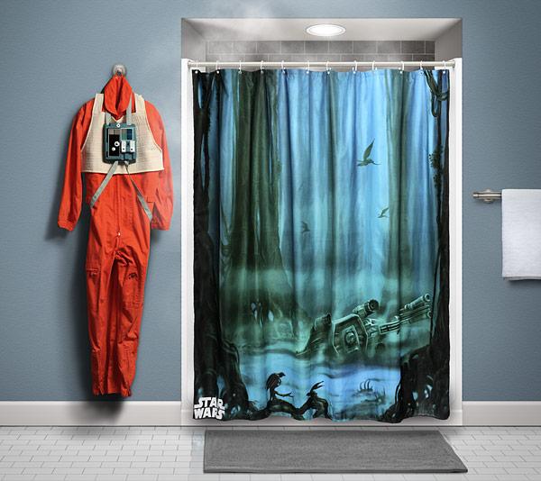 geeky shower curtains. Dagobah Shower Curtain Displayed - Geek Decor Geeky Curtains O