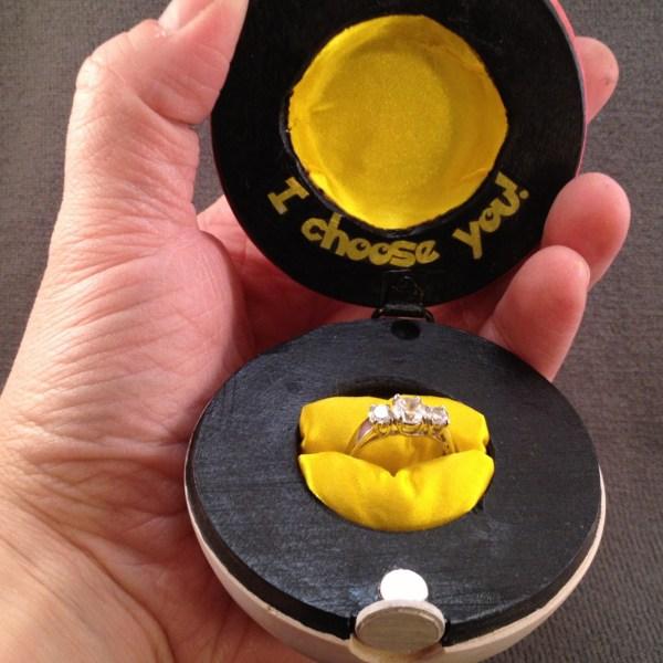 Pokeball Ring Box Open -- Geek Decor