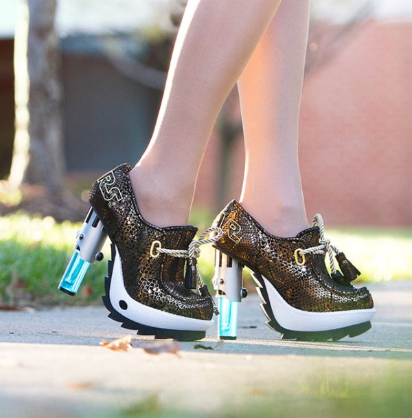 Skywalker Lightsaber Lace Up Heels Being Worn - Geek Decor