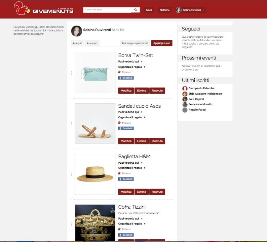 GiveMeNuts: il sito per creare wishlist