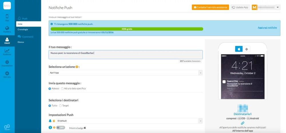 GoodBarber: invia notifiche pust agli utenti