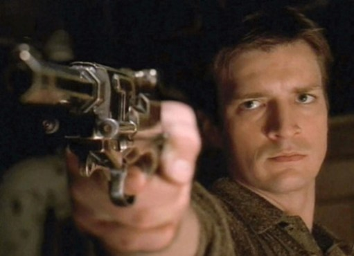 Nathan Fillion as Captain Mal Reynolds in Firefly