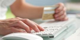 Close up shot of entering credit card number