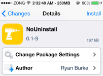 nouninstall cydia tweak