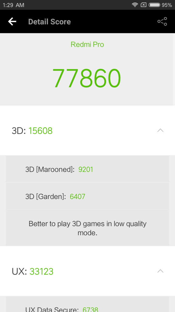 Xiaomi Redmi Pro Review: 3D Score - AnTuTu Benchmark