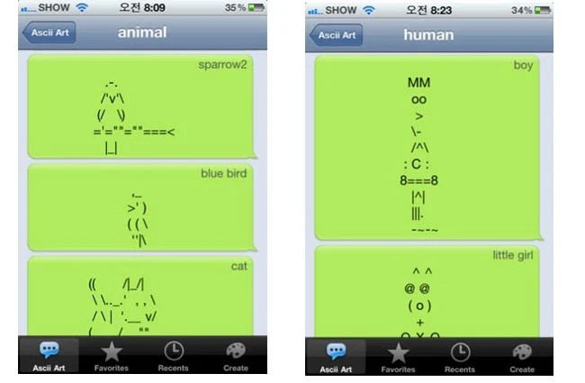 Send Ascii SMS Artwork From Your iPhone With AsciiArt App - cool text message art