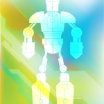 Illustration in multiple colors of a robot