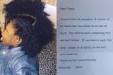 Professora escreve carta sobre o cabelo de aluna nos Estados Unidos