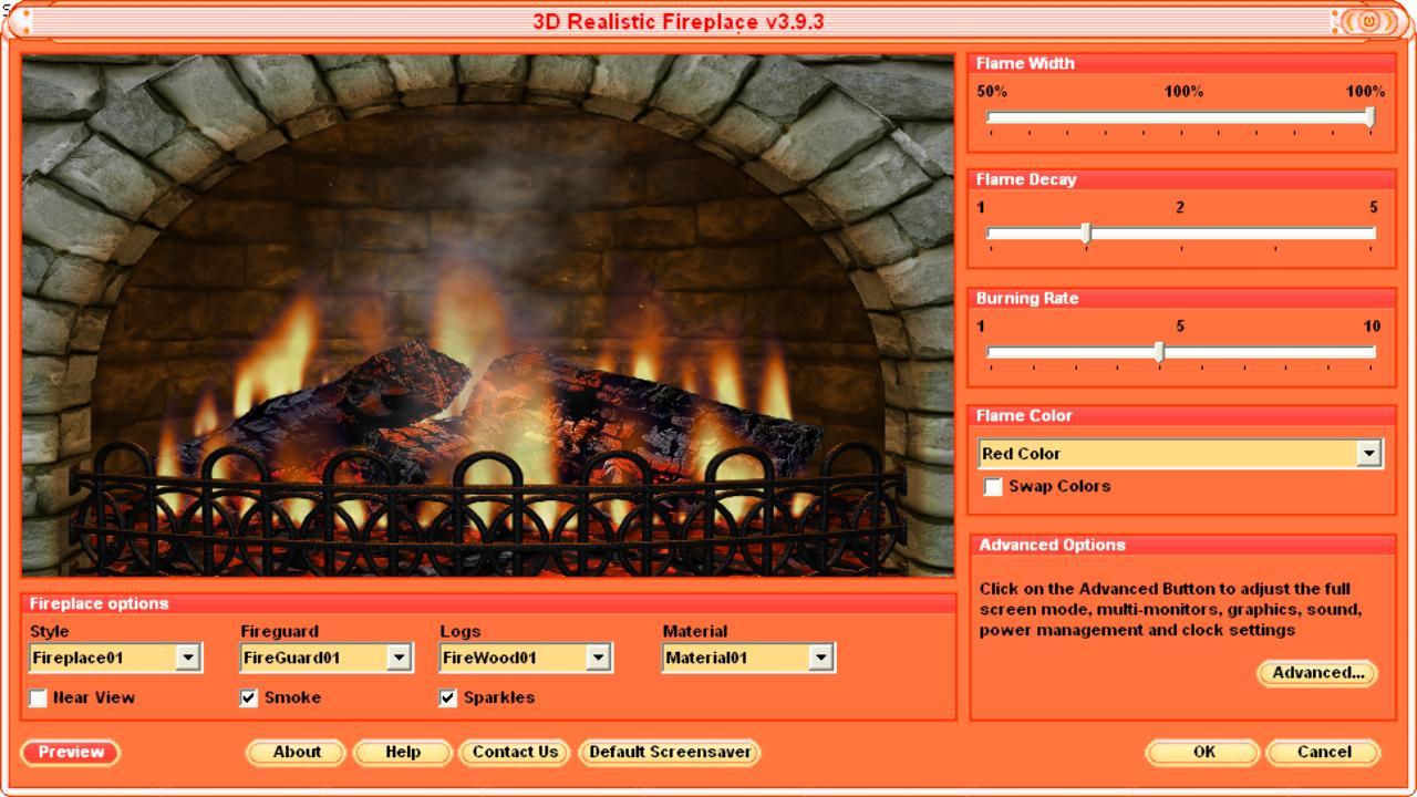3d Realistic Fireplace Screensaver Fire Screensavers Free