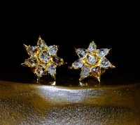 Rose Cut Diamond Stud Earrings Antique 20k Star