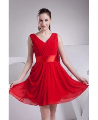 Red Pleated Chiffon Short Bridesmaid Dress with Sash # ...