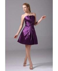 Purple Satin Pleated Short Bridesmaid Dress Strapless #