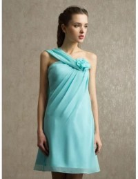 Pool Chiffon Short One Strap Bridesmaid Dress #BS033 $98.9 ...