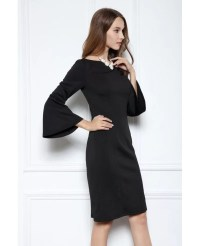 Black Sheath Scoop Neck Knee-length Formal Dress With ...