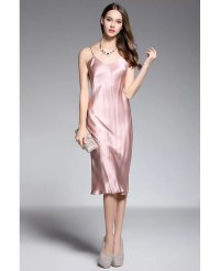 Sheath V-neck Tea-length Rose Pink Silk Evening Dress # ...