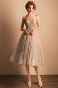 Retro Tea Length Wedding Dresses Tulle Strapless A Line