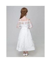Ankle Length Whole Lace White Flower Girl Dress with Long ...