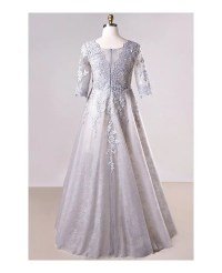 Plus Size Grey Long Lace Formal Dress With Lace Sleeves # ...