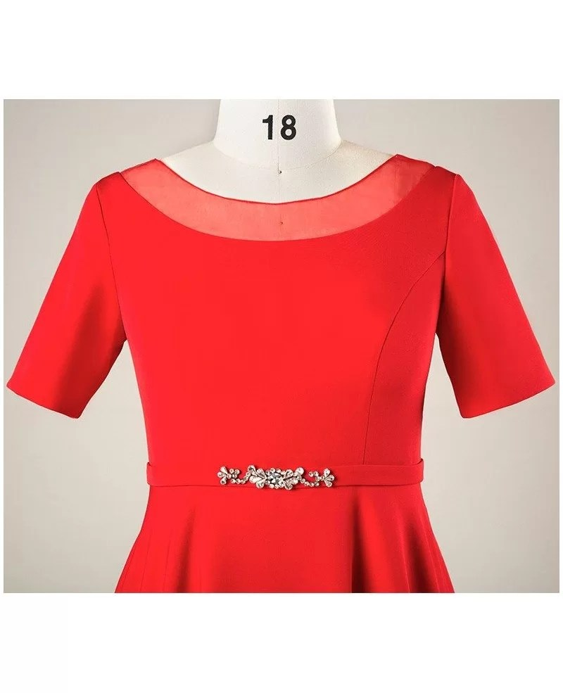 Plus Size Simple Short Red Formal Bridal Party Dress With