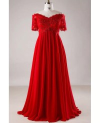 Plus Size Red Sequin Lace Off Shoulder Empire Long Formal ...