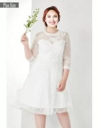 Modest Plus Size White Lace 3/4 Sleeves Short Wedding ...