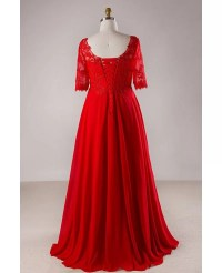 Plus Size Red Lace Empire Waist Long Chiffon Formal Dress ...