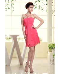 A-line Halter Short Chiffon Bridesmaid Dress #OP3057 $89 ...