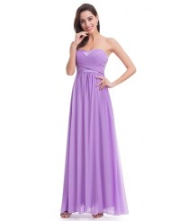 Lavender Strapless Long Evening Party Dress for Cheap #