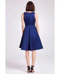 Navy Blue Simple Short V Neck Satin Cheap Bridesmaid Dress ...