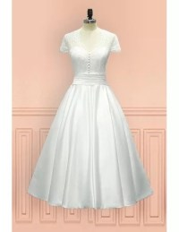 Vintage Tea Length Wedding Dress Sheer Back With Cap ...