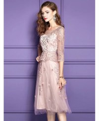 Pink Lace Knee Length Formal Dress For Wedding Guests With ...