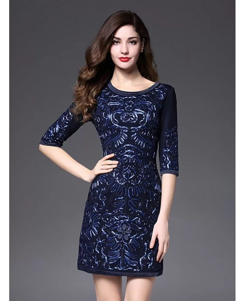 Short Fitted Wedding Guest Dress Navy Blue With Sleeves