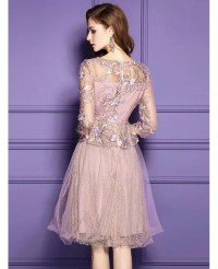 Pink A Line Lace High-end Short Party Dress For Weddings ...