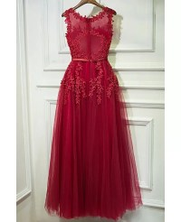 Lovely Applique Lace Long Prom Dress Cheap Sleeveless # ...