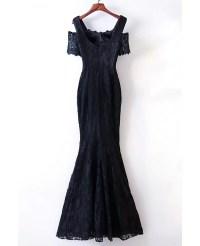 Elegant Long Black Lace Mermaid Prom Dress Cold Shoulder # ...