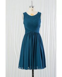 Cheap Short Teal Blue Bridesmaid Dress With Pleated Bodice ...