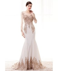 Special Long Sleeved Formal Evening Dress With Gold ...