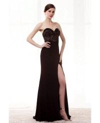 Strapless Slit Black Formal Prom Dress With Beading Bodice ...
