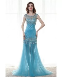 Sexy Tight Trumpet Sheer Prom Dress With Sparkly Crystals ...