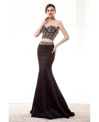 Unique Crop Top Sexy Black Prom Dress Two Piece With ...